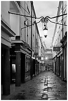 Narrow alley at dawn. Bath, Somerset, England, United Kingdom ( black and white)