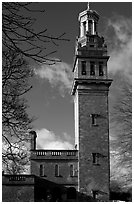 Beckford tower with topmost gilded belvedere. Bath, Somerset, England, United Kingdom (black and white)