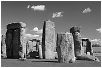 Sarsen trilithons surrounded by bluestones, Stonehenge, Salisbury. England, United Kingdom (black and white)
