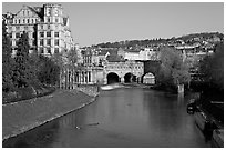 Avon River, Empire hotel, and Pulteney Bridge, morning. Bath, Somerset, England, United Kingdom ( black and white)