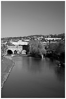 Avon River  and Pulteney Bridge, morning. Bath, Somerset, England, United Kingdom ( black and white)