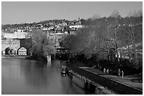 Pulteney Bridge, Avon River, Houseboats, and quay. Bath, Somerset, England, United Kingdom (black and white)