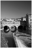 Pulteney Bridge and weir, morning. Bath, Somerset, England, United Kingdom ( black and white)