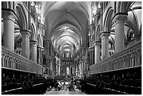 Quire of Canterbury Cathedral, the longest of any English Cathedral, and musicans. Canterbury,  Kent, England, United Kingdom (black and white)