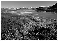 Susitna River and fall colors on the tundra, Denali Highway. Alaska, USA ( black and white)