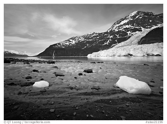 Barry arm and Glacier from Black Sand Beach. Prince William Sound, Alaska, USA (black and white)
