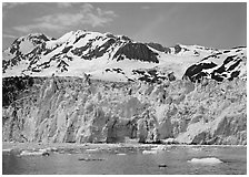 Front of Surprise Glacier. Prince William Sound, Alaska, USA ( black and white)