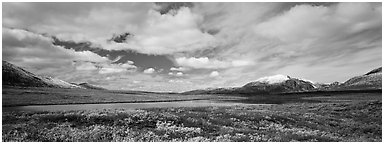 Tundra landscape and clouds in autumn. Alaska, USA (Panoramic black and white)