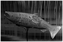 Salmon sculpture. Anchorage, Alaska, USA ( black and white)