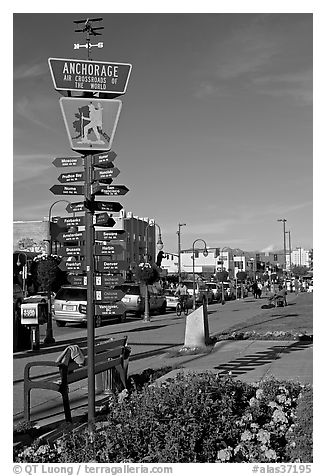 Downtown center with Air Crossroads of the World sign. Anchorage, Alaska, USA (black and white)
