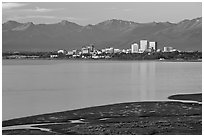 Knik Arm and city skyline. Anchorage, Alaska, USA ( black and white)