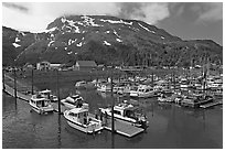 Yachts ready for sailing and harbor. Whittier, Alaska, USA (black and white)