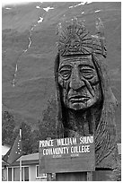 Peter Toth huge wooden carving of a Native American. Alaska, USA ( black and white)
