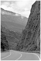 Richardson Highway passing between steep walls, Keystone Canyon. Alaska, USA (black and white)
