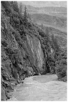River and rock walls, Keystone Canyon. Alaska, USA (black and white)