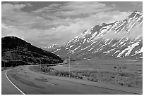 Richardson Highway below Thompson Pass. Alaska, USA (black and white)