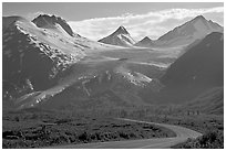 Richardson and Worthington Glacier, afternoon. Alaska, USA (black and white)