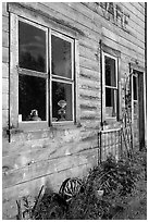 Windows and doors of old wooden building. McCarthy, Alaska, USA ( black and white)