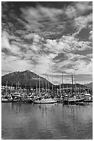 Harbor, mountains and cloud reflections. Seward, Alaska, USA ( black and white)