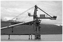 Coal unloading installation. Seward, Alaska, USA ( black and white)