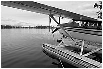 Float plane on Lake Hood. Anchorage, Alaska, USA ( black and white)