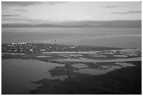 Aerial view of Kotzebue. Kotzebue, North Western Alaska, USA (black and white)
