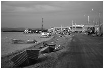 Shore avenue. Kotzebue, North Western Alaska, USA ( black and white)