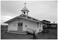 Church Saint George in the Arctic. Kotzebue, North Western Alaska, USA ( black and white)