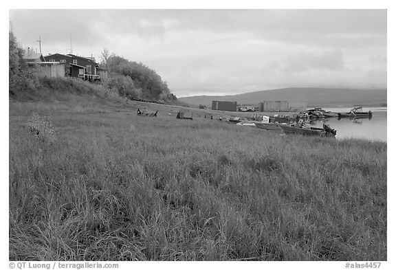 River landing, Kiana. North Western Alaska, USA (black and white)