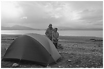 Camping on the Spit. Homer, Alaska, USA ( black and white)