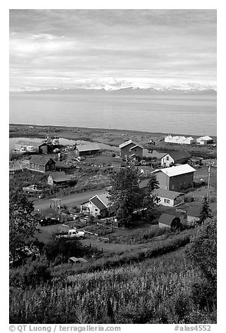 Old village. Ninilchik, Alaska, USA (black and white)