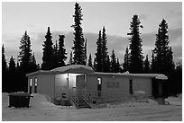 Post office at dusk, Cantwell. Alaska, USA (black and white)