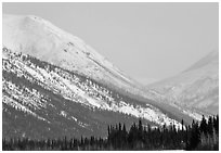 Brooks range mountains in winter. Alaska, USA ( black and white)