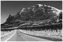Dalton Highway and Mount Sukakpak. Alaska, USA ( black and white)