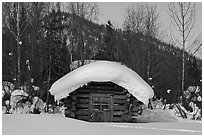 Snow-covered cabin. Wiseman, Alaska, USA ( black and white)