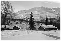 Cabins and winter landscape. Wiseman, Alaska, USA ( black and white)