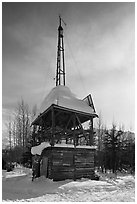 Energy-generating tower. Wiseman, Alaska, USA (black and white)