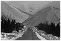 Dalton highway and mountains. Alaska, USA ( black and white)