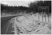 Sign marking begining of James W Dalton Highway. Alaska, USA ( black and white)