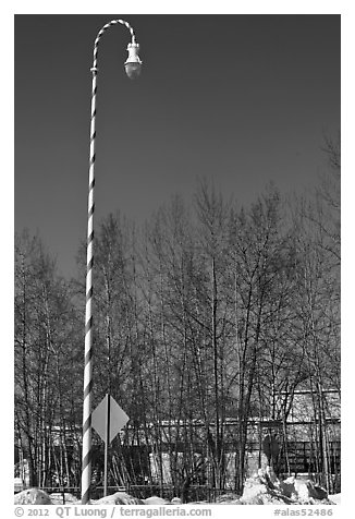 Street light decorated with a candy cane motif. North Pole, Alaska, USA