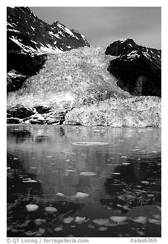 Cascade glacier dropping into Harriman  Fjord. Prince William Sound, Alaska, USA (black and white)