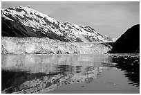 Barry glacier and mountains reflected in the Fjord. Prince William Sound, Alaska, USA ( black and white)