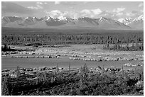 Kettle Lakes, tundra, and mountains. Alaska, USA ( black and white)