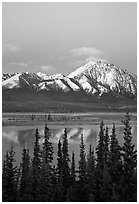 Snowy peaks and lake at dusk. Alaska, USA ( black and white)