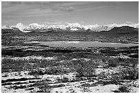 Fresh snow, Lake and mountains. Alaska, USA ( black and white)