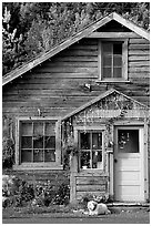 Dog in front of house in Copper Center. Alaska, USA (black and white)