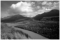 Matanuska River and Chugach mountains in summer, afternoon. Alaska, USA (black and white)