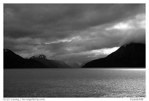Storm clouds hang over the Turnagain Arm. Alaska, USA (black and white)