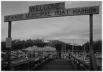 Seward harbor at sunset. Seward, Alaska, USA (black and white)
