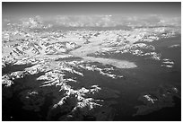 Aerial view of the Columbia Glacier. Prince William Sound, Alaska, USA (black and white)